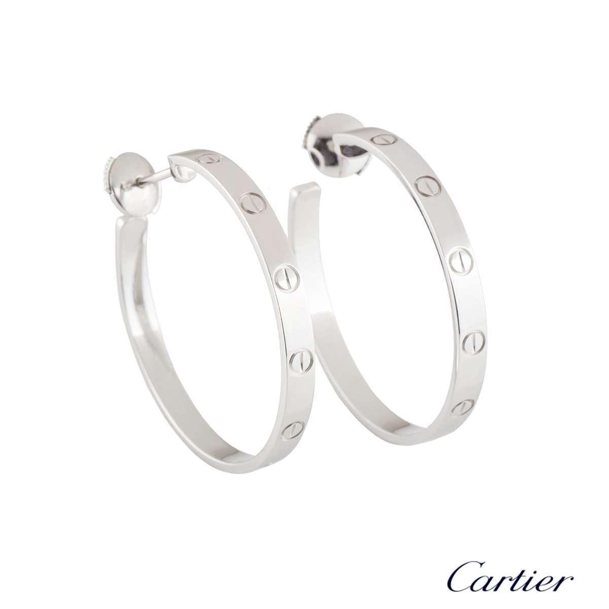 Cartier White Gold Plain Love Earrings B8028300